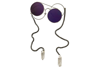 In Your Eyes Sunglasses in Purple Lens with Clear Quartz