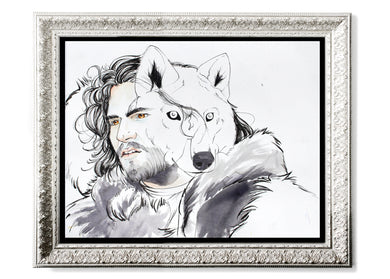 Jon Snow & Ghost Art Print