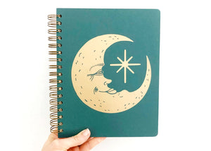 Moon Face Open Dated 12 Month Planner in Green
