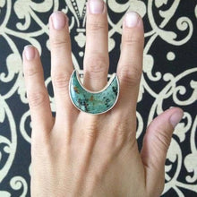 Horizontal Crescent Moon Ring in Sterling Silver & Turquoise