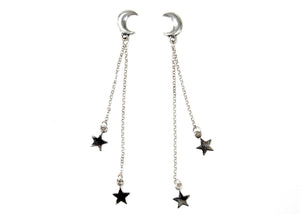 Moon & Star Earrings in Sterling Silver