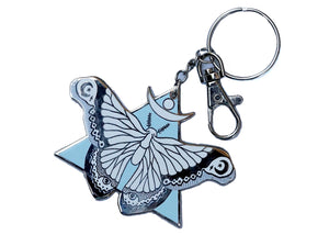 Moth Keychain in Light Blue