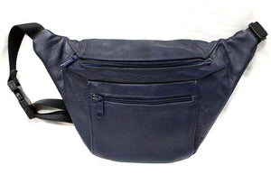 Large Leather Fanny Pack in Navy