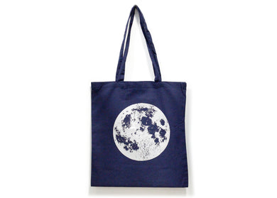 Metallic Full Moon Tote Bag in Indigo