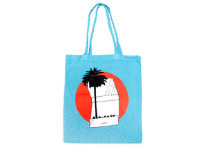 Palm Tree Matchbook Tote Bag in Blue