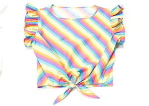 Dilophos Ruffle Crop Blouse in Pastel Rainbow Stripe