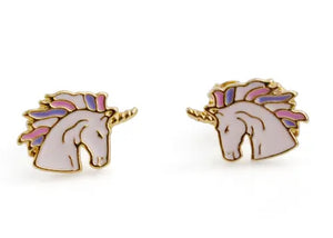 Pink Unicorn Stud Earrings