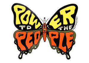 Power To The People Butterfly Sticker
