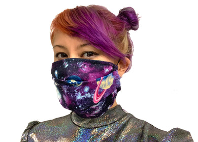 Purple Glitter Galaxy Reversible Face Mask