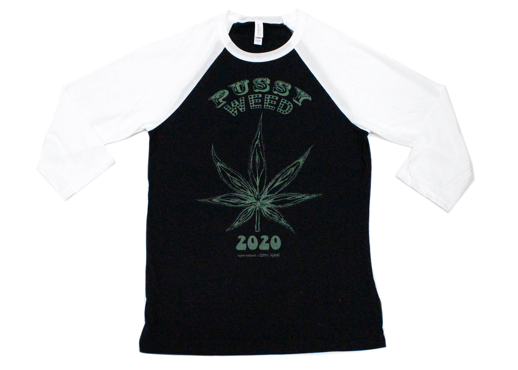 EXCLUSIVE Pussy Weed 2020 Tee in Black/White Raglan