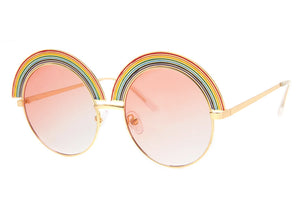 Rainbow Sunglasses in Gold/Pink