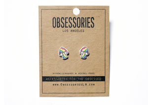 Rainbow Mushroom Earrings