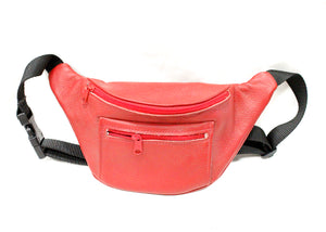 Leather Fanny Pack in Red