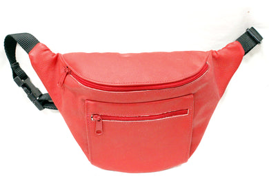 Large Leather Fanny Pack in Red