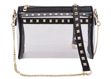 The Rockstar Clear Crossbody in Black/Gold