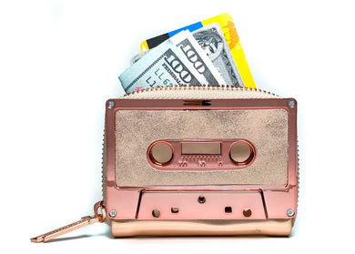Retro Cassette Tape Wallet in Rose Gold