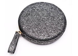 Roundie Roo Pouch in Black Glitter Galaxy