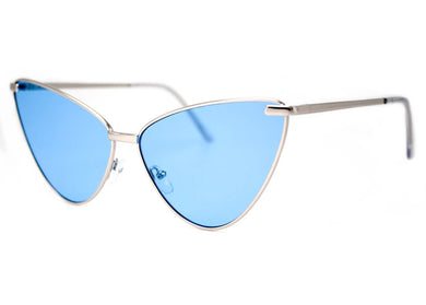 Sissy Sunglasses in Matte Silver & Blue