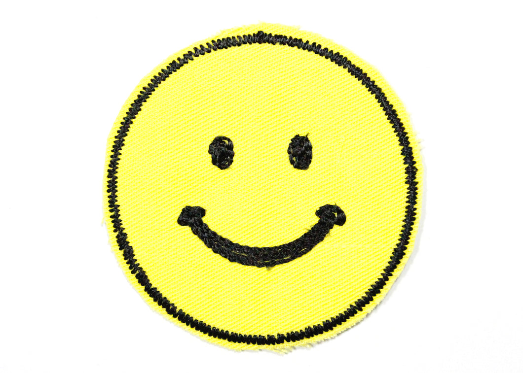 Smiley Face Chain Stitched Sew-On Patch