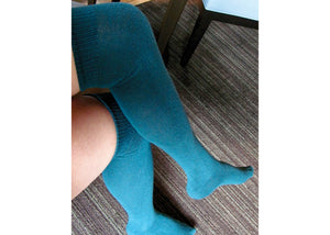 Solid Over The Knee Socks In Teal
