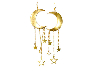 Star Girl Earrings in Brass