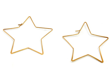 Star Hoop Earrings in Brass