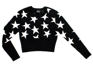 Stars Cropped Sweater in Black