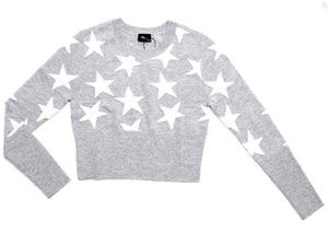 Stars Cropped Sweater in Heather Gray