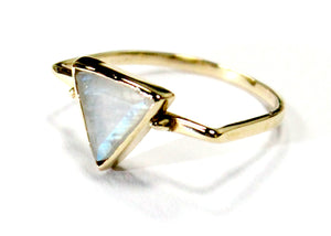 Moonstone Triangle Ring In Brass