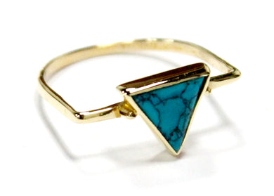Turquoise Triangle Ring In Brass