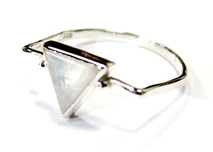 Moonstone Triangle Ring In Sterling Silver