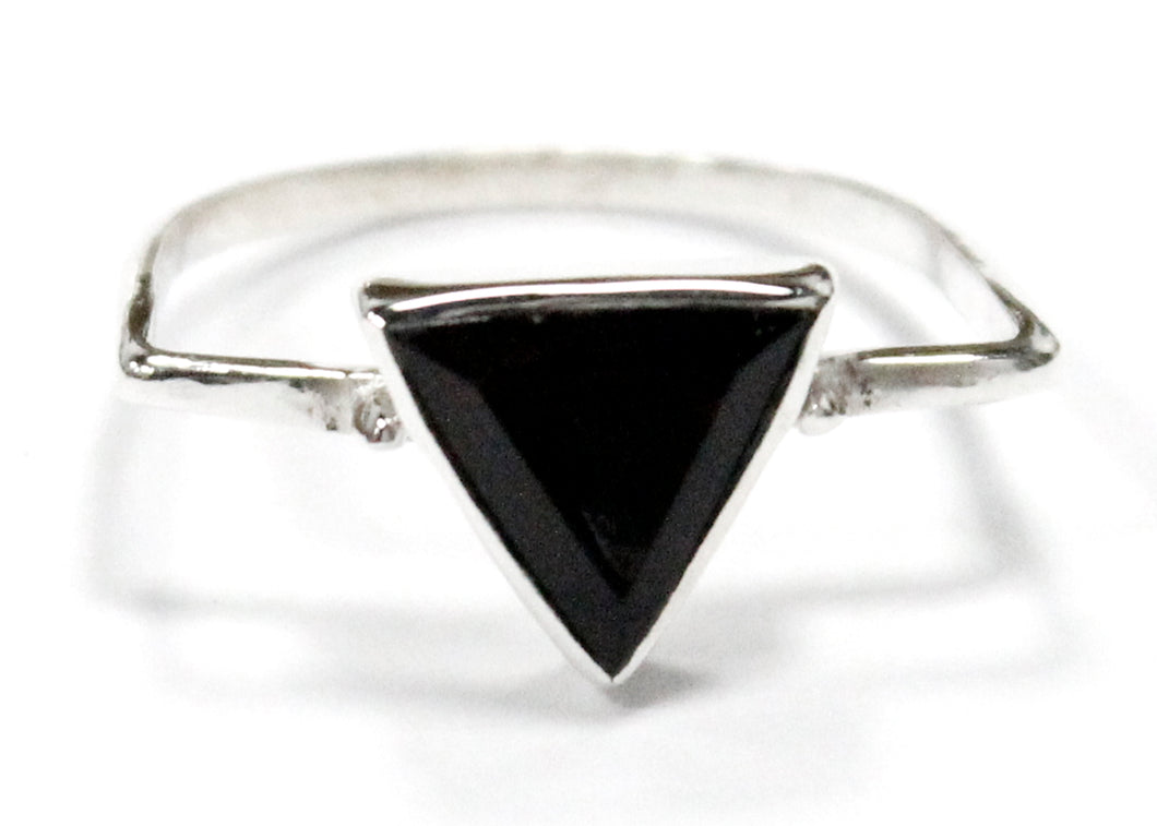 Onyx Triangle Ring In Sterling Silver