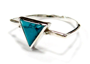 Turquoise Triangle Ring In Sterling Silver