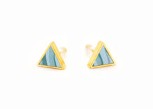 Aqua Marbled Triangle Stud Earrings