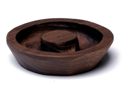Walnut Round Incense Holder