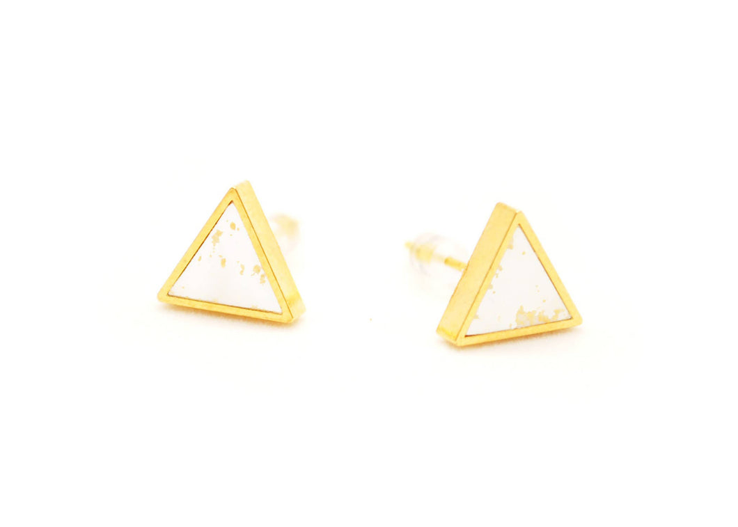 White Speckled Triangle Stud Earrings