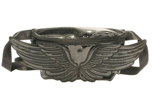 Wings Fanny Pack In Metallic Black