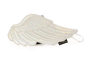 Wings Pouch In Iridescent Silver