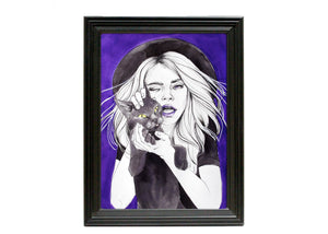 Witch With Cat Familiar Art Print