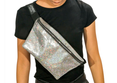 XL Ultra Slim Fanny Pack In Glam Silver