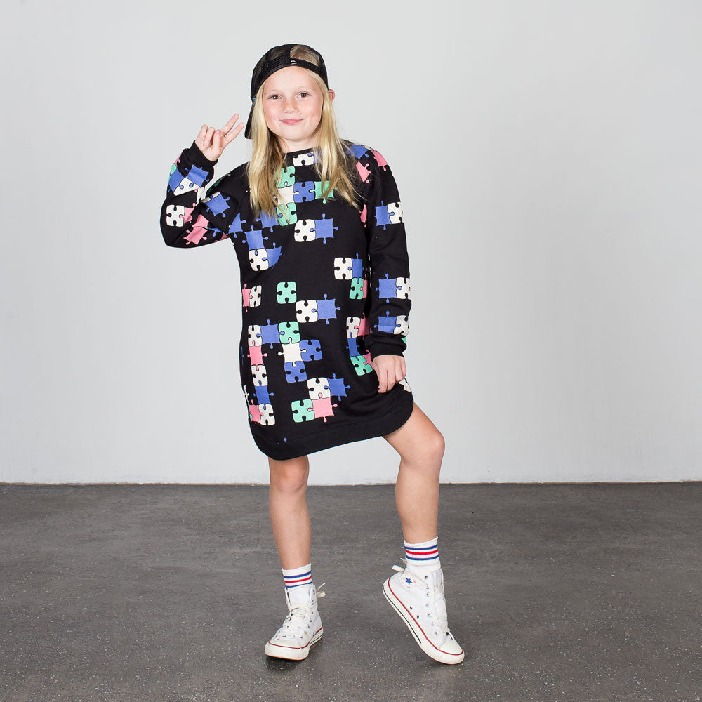 PUZZLE SWEATER DRESS