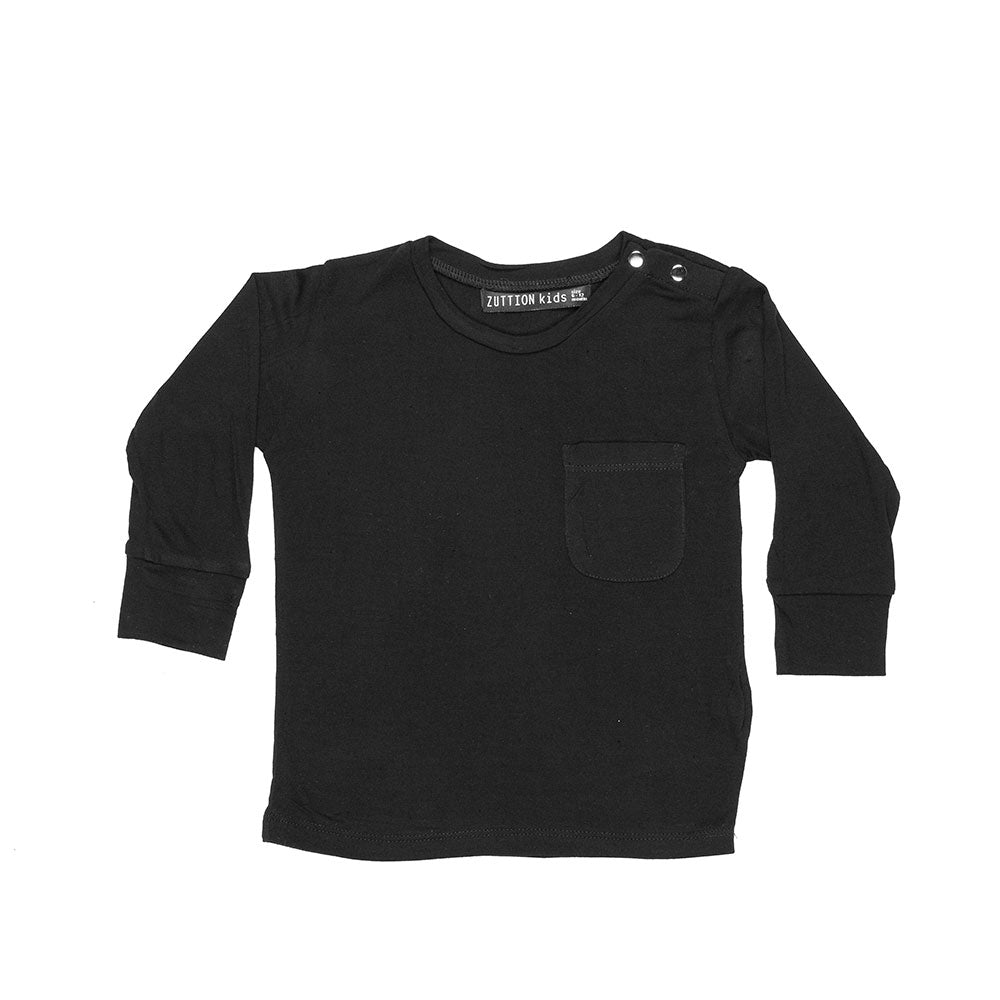 BABY L/S DISTRESSED BLACK TEE