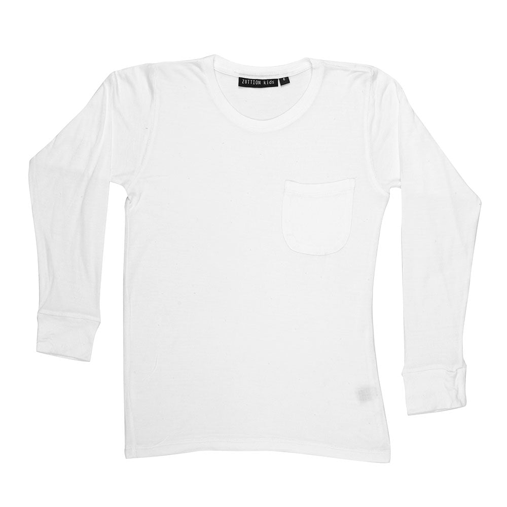 L/S DISTRESSED HOLES WHITE TEE