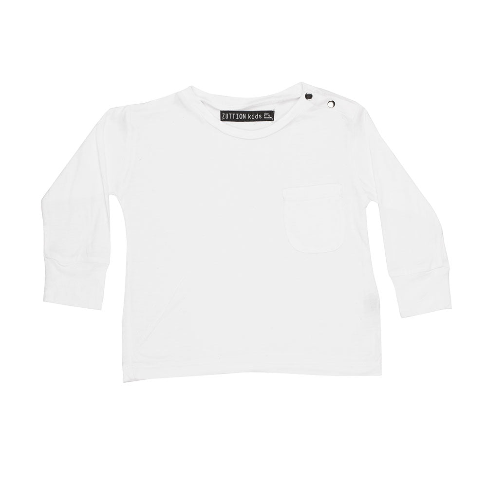 BABY L/S DISTRESSED WHITE TEE