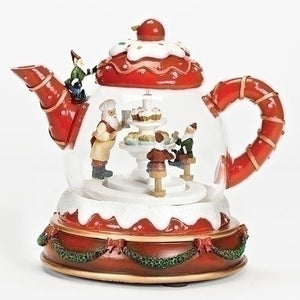 Roman LED Lit Teapot with Elves Animated Christmas Musical-TGC Toys and Gifts