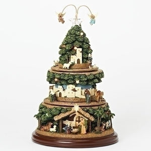 Roman LED Lit Musical Nativity Tree with Triple Rotation-TGC Toys and Gifts