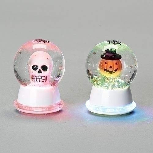 Roman Skeleton & Pumpkin Head Mini Neon Lit Waterglobe Set of 2 - TGC Toys and Gifts