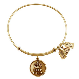 Wind & Fire Keep Calm Charm Gold Bangle Bracelet - TGC Toys and Gifts
