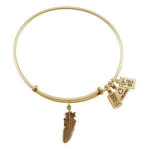 Wind & Fire Feather 3D Charm Gold Bangle Bracelet - TGC Toys and Gifts