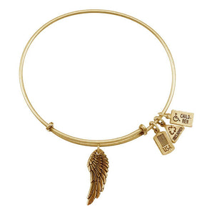 Wind & Fire Angel Wing 3D Charm Gold Bangle Bracelet - TGC Toys and Gifts